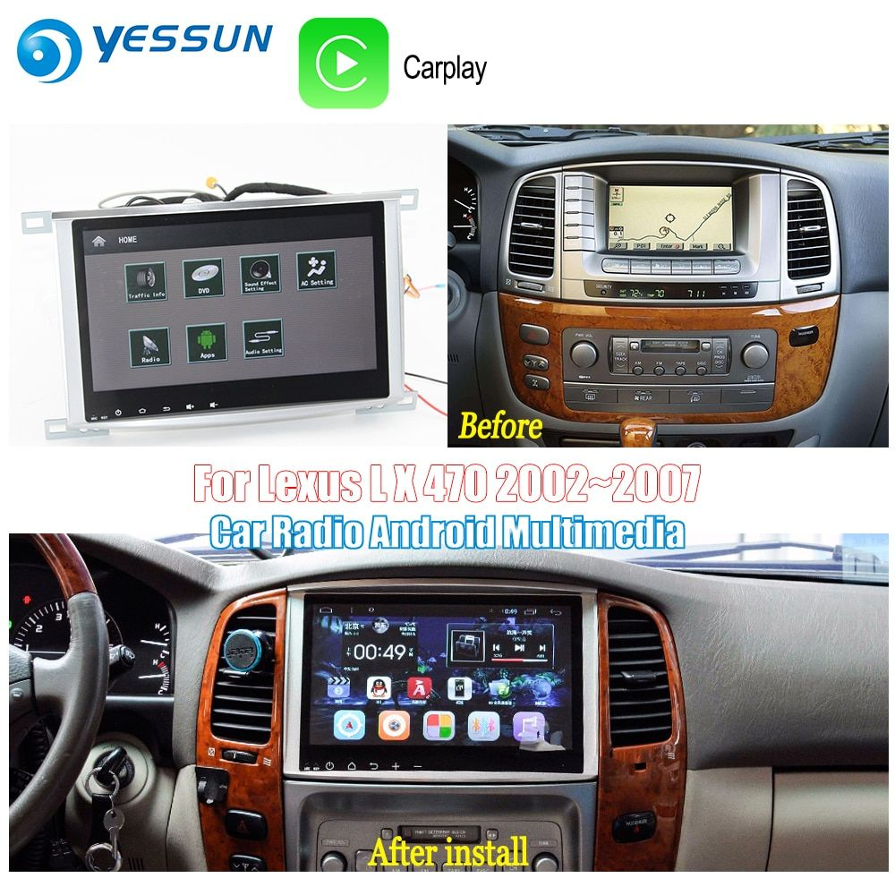 YESSUN Für Toyota Land Cruiser 100 2002 ~ 2007 Auto Android Carplay GPS Navi maps Navigation Player Radio BT HD bildschirm keine CD DVD