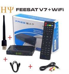 Original Freesat V7 receptor satélite HD completo 1080 P + 1 unid USB WiFi DVB-S2 HD ayuda Ccam powervu youpron set top box energía vu