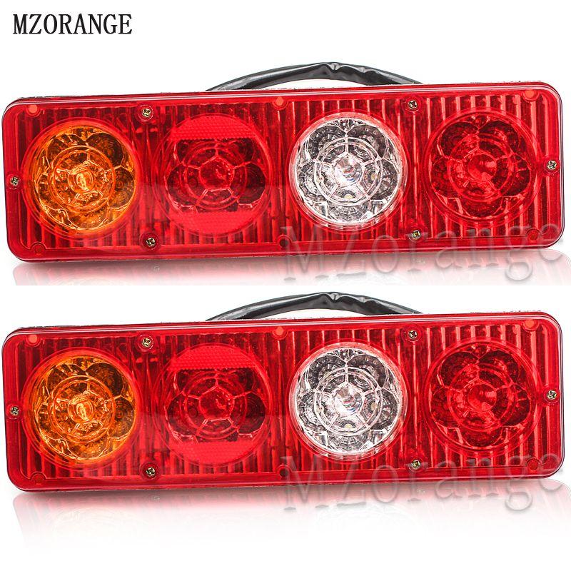 MZORANGE 2pcs LED Waterproof Car Rear Tail Lights Lamp Brake Stop Light for Trailer Caravan Truck Lorry 20LED 12V 3Colors