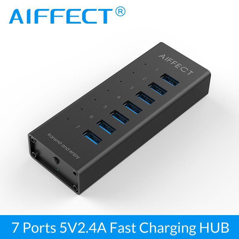 AIFFECT 7 ports aluminium USB 3.0 HUB BC1.2 chargeur rapide avec adaptateur 12 V 2A répartiteur USB pour iPhone Xiaomi HTC Huawei 1 M câble