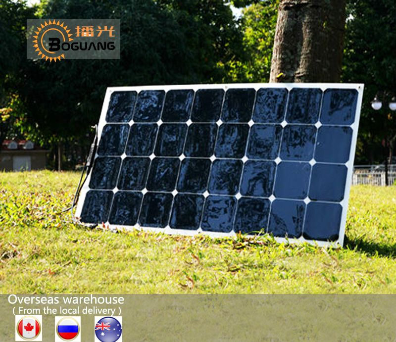 BOGUANG 100W flexible solar panel efficient cell price module kit Boat Roof RV light camper Car 12V 24V Battery Power Charger