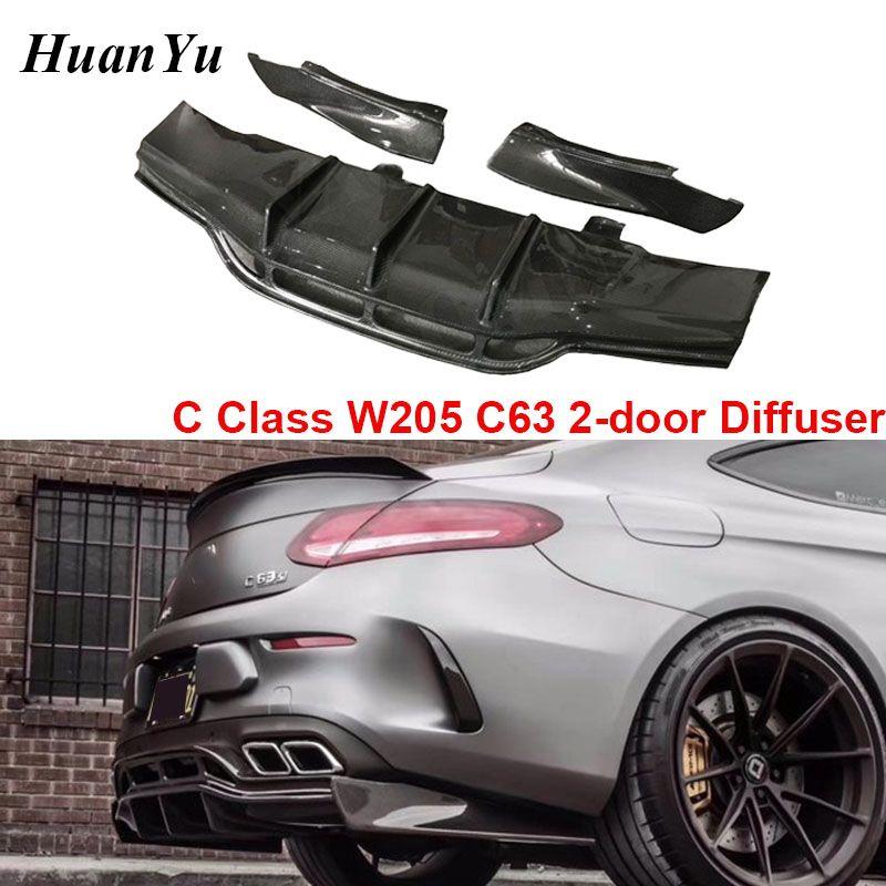 C63 2-Tür Carbon Fiber Diffusor für Mercedes-benz C Klasse W205 Hinten C63 Coupe Sport Edition Hinten stoßstange Lippen Carbon Faser
