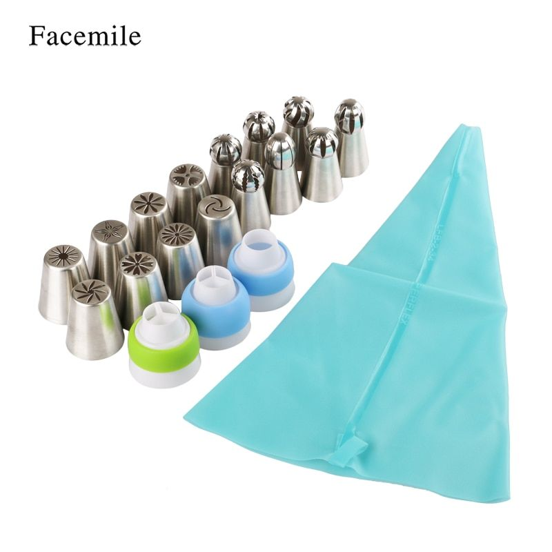 Facemile 19PCS Russian Pastry Nozzles Icing Piping Tips Set +Bag Converter Stainless Steel Kitchen Baking Cake Decorating Tools
