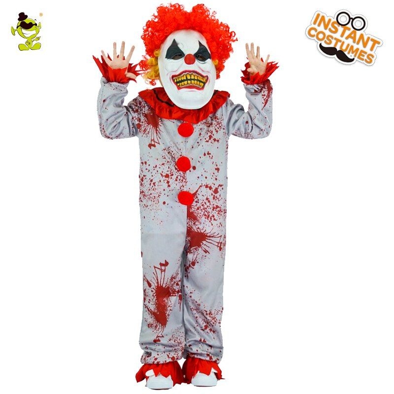 Boys Evil Clown Costumes Halloween Masquerade Party Bloody Buffon Role Play Outfit Children Grim Killer Disguise Party Sets
