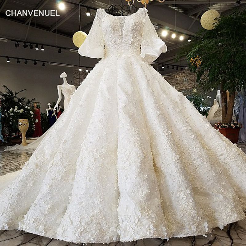 LS92104 2018 Luxury wedding dress o-neck lantern sleeve ball gown lace up Handwork eleganbridal wedding gowns real as photos