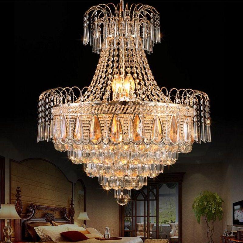 Lustre K9 Gold Crystal Chandelier Remote Control Modern Led Chandelier Lighting Bedroom Living Room Dining Room 110V 220V