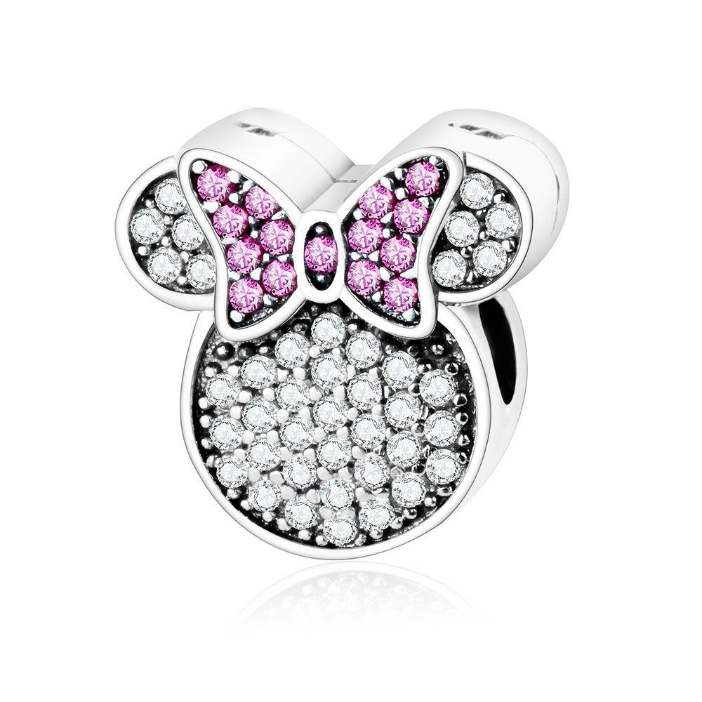 925 Sterling Argent Fit Orignal Pandora Charme Bracelet de Bande Dessinée Perle DIY Bijoux Mickey & Minnie Baiser Clip Charme 2016 Hiver