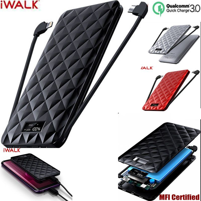 iWalk 10000mah Power Bank QC 3.0 12V with Type C MFI 8 Pin Cable for iPhone XS 8 Xiaomi Mi8 Oneplus Samsung S9 Note9 Huawei P20