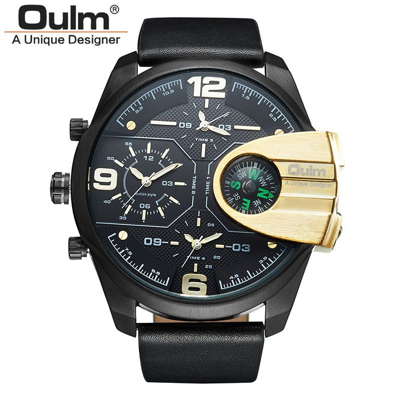 Top Brand Luxury relogio masculino Business Genuine Leather Waterproof Dual Display Military Compass Men Quartz Sport Oulm Watch