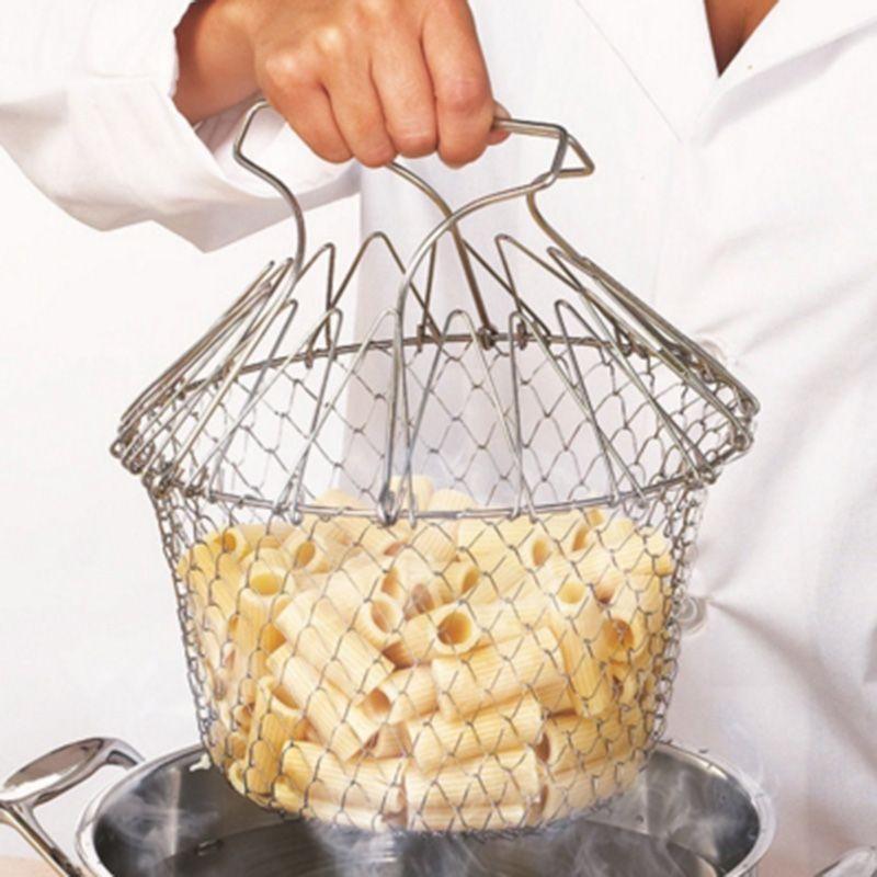 2017 Nouvelle qualité Alimentaire Pliable Frire Chef Panier Vapeur rincer Souche magique panier maille panier Crépine Net Cuisine Cuisine outils