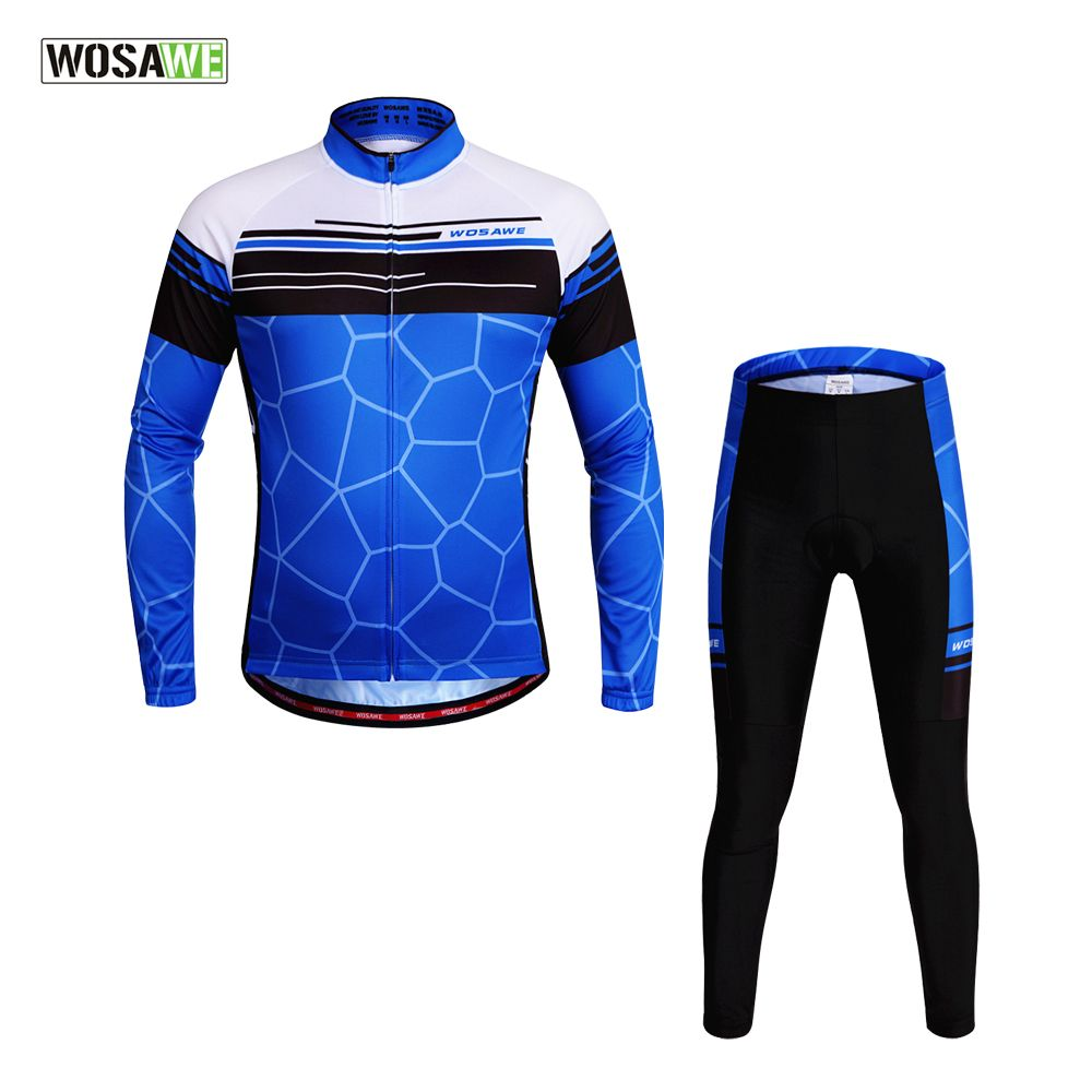 WOSAWE Long Pro Team Cycling Jersey Full Outdoor Sport Suits Mtb Bicycle Bike Summer Protective Cycling Clothes ropa ciclismo