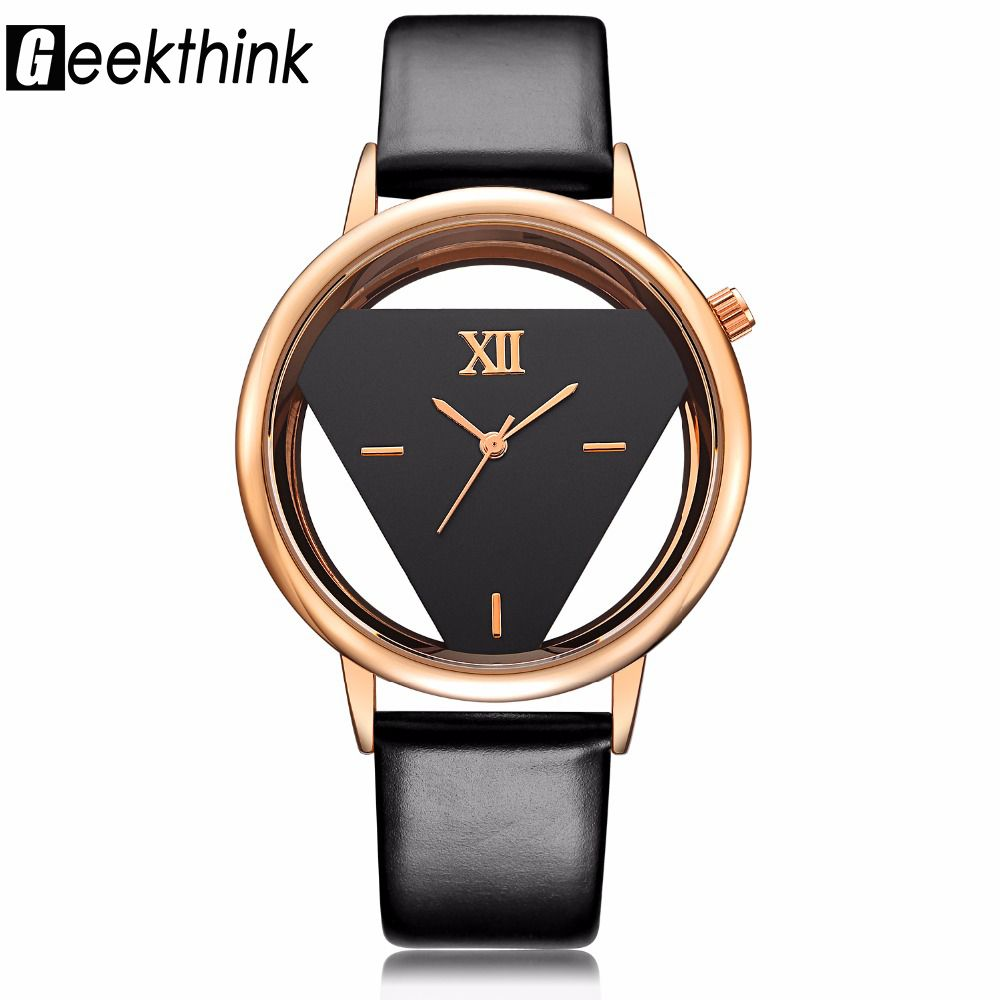 GEEKTHINK Hollow Series Luxury Brand Quartz Watch Women Ladies Casual Dress Leather strap Clock Female Girls Trending