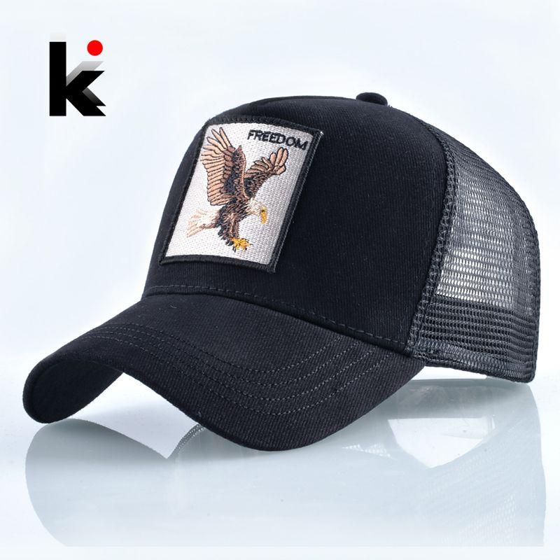 Mode animaux broderie casquettes de Baseball hommes femmes Snapback Hip Hop chapeau été respirant maille soleil Gorras unisexe Streetwear Bone
