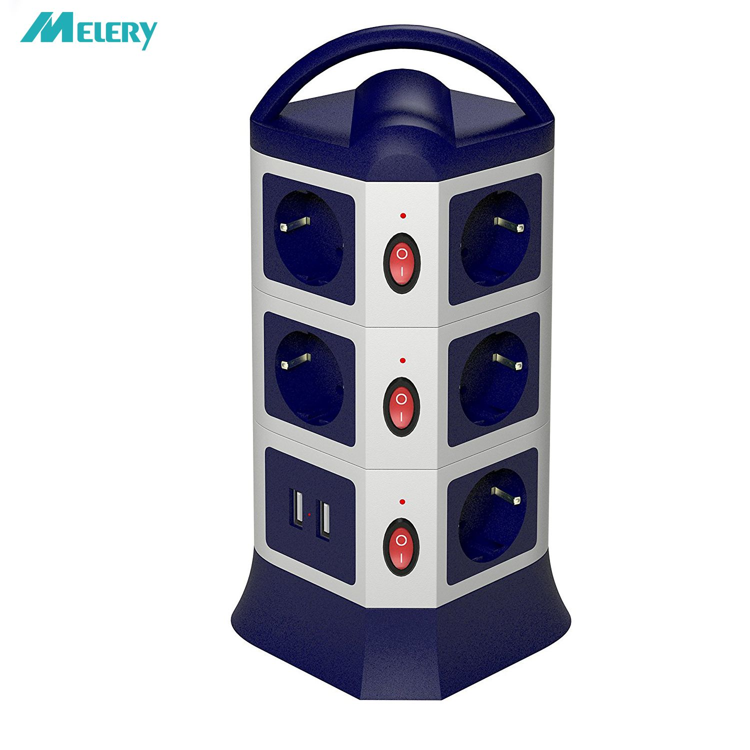 Power Strip USB Outlets 7/11 EU Outlets Socket with USB Surge Protector Individually Switch 1.8m/6ft Retractable Extension Cord