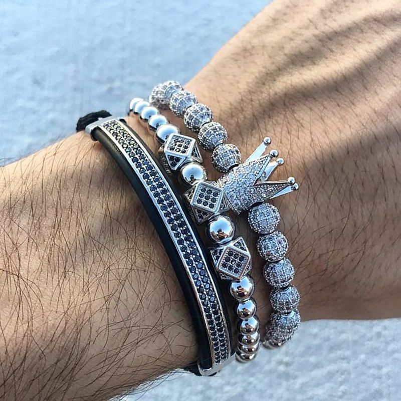 3pcs/set Men Bracelet jewelry crown charms Macrame beads Bracelets for women pulseira masculina pulseira women Bracelets
