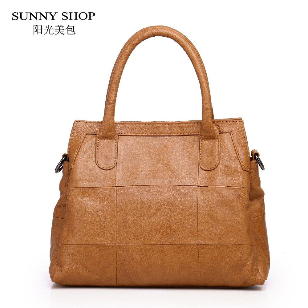SUNNY SHOP 100% Soft Genuine Leather Top Handle Bag 3 Compartments Skin Leather Women Bag Luxury Handbags Designer 4 Colors