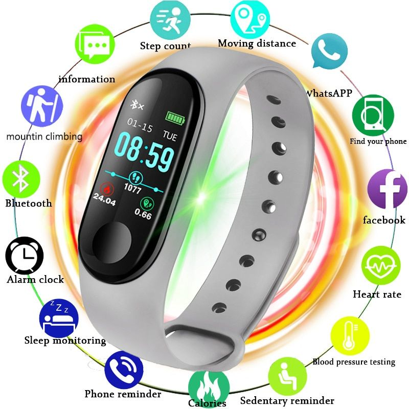 LIGE Neue Ip67 Wasserdichte Smart Armband LED Farbe Schirm Schwimmen Kalorien Herzfrequenz Blutdruck Monitor Smart Handgelenk Relogio