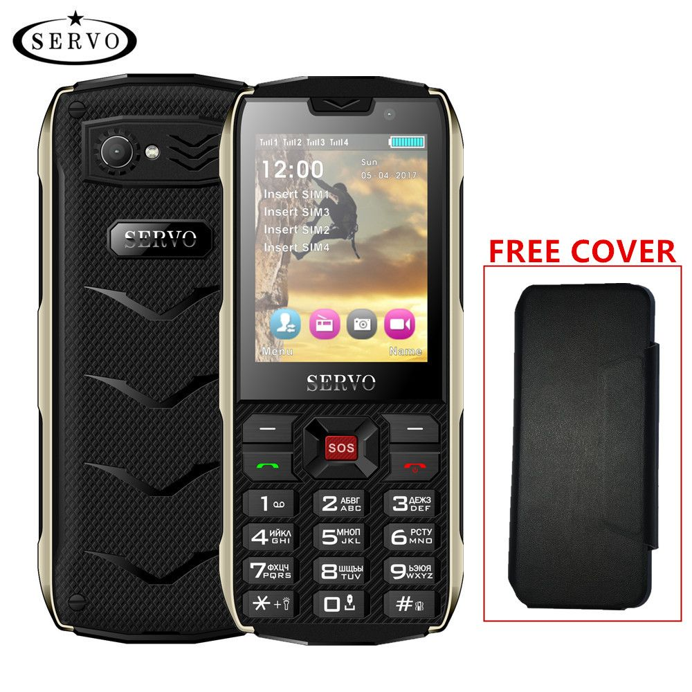 SERVO H8 Mobile Téléphone 2.8 pouces 4 carte SIM 4 veille Bluetooth lampe de Poche GPRS 3000 mAh Puissance Banque Téléphone Russe langue clavier