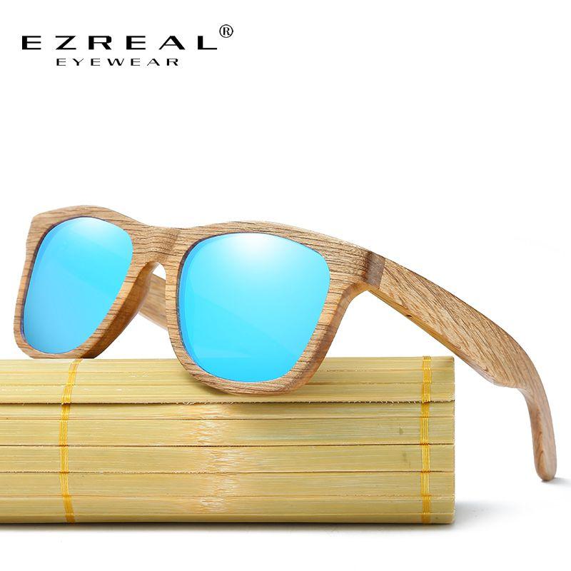 EZREAL Nouveau Hommes de Du Bois Polarisé Lunettes de Soleil Rétro Hommes et Femmes De Luxe À La Main En Bois lunettes de Soleil pour Amis comme cadeaux