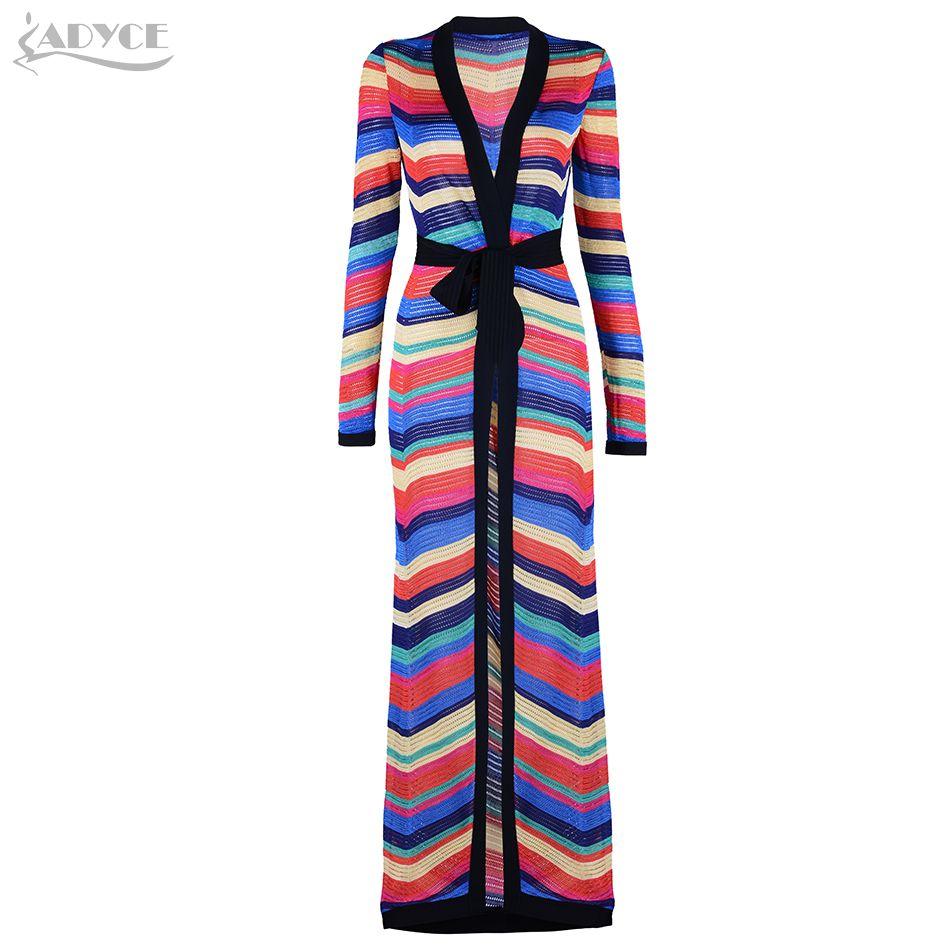 Adyce 2018 New Fashion Women COAT Rainbow Striped Long Sleeve Long Style Coat Elegant Women Long Coat With Sash