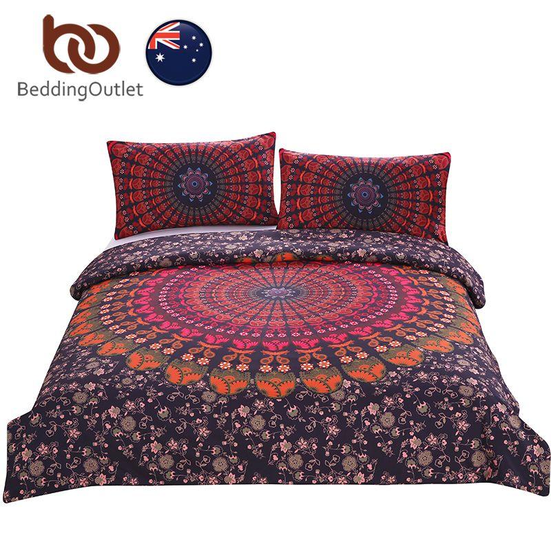 BeddingOutlet Mandala Floral Bedding Set Concealed Bedspread Duvet Cover 3Pcs Boho Bohemian Single Double Queen AU SIZE