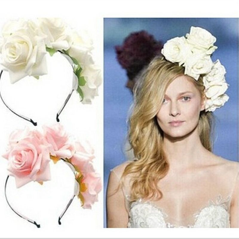 Flower Wreath Flower Crown Head <font><b>band</b></font> Handmade Big Rose Hair Garland Women Hair Accessories Wedding Headpiece 6 colors
