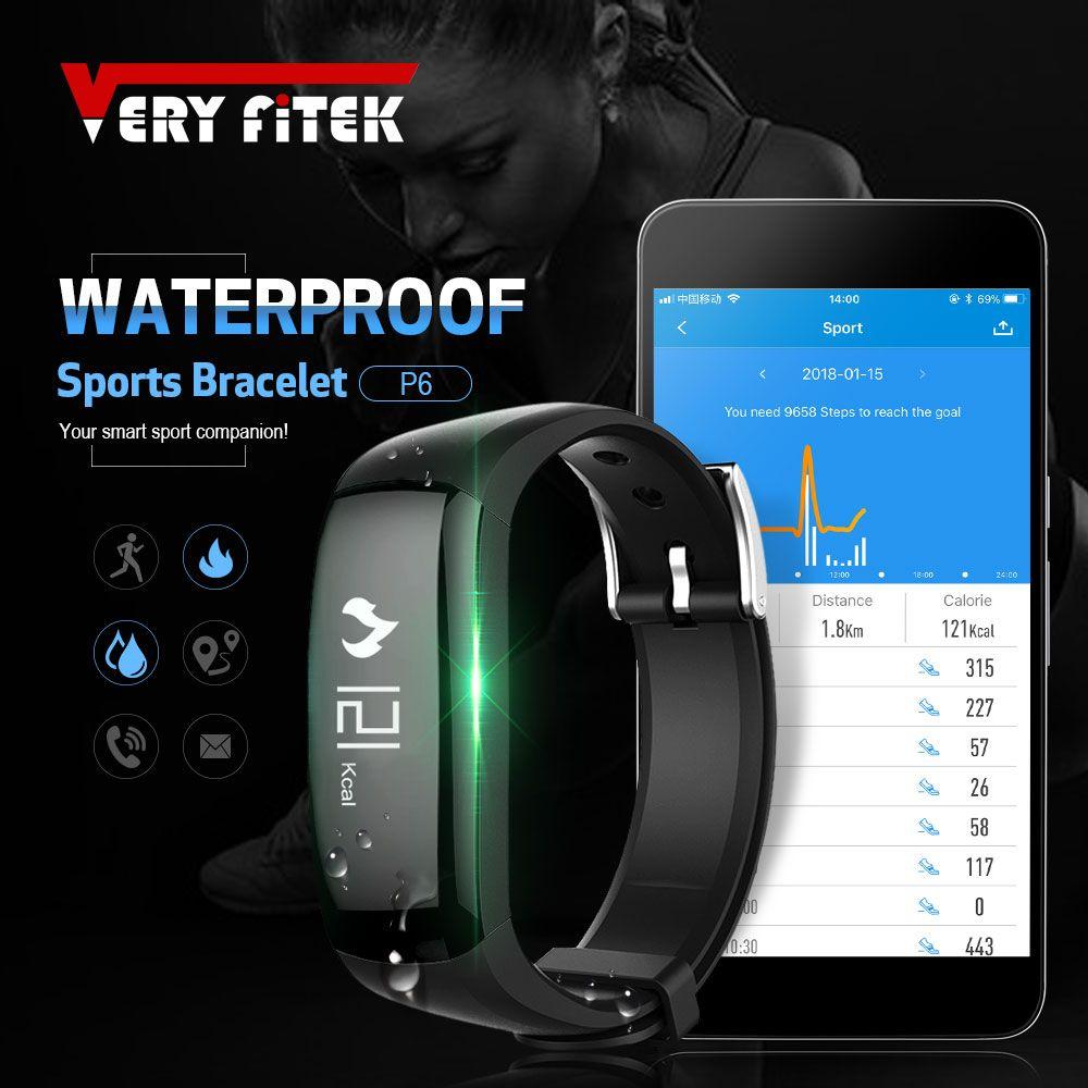 VERYFiTEK P6 Relogio Inteligente Smart Band Activity Tracker Pedometer Fitness Wristband Bracelet for iOS Android pk mi band 2