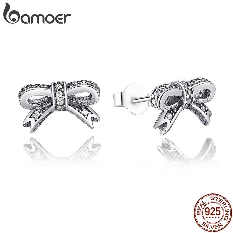 BAMOER Delicate 100% 925 Sterling Silber Funkelnden Bogen Stud Ohrringe Mit Klaren CZ Frauen Party Luxus Schmuck PAS407