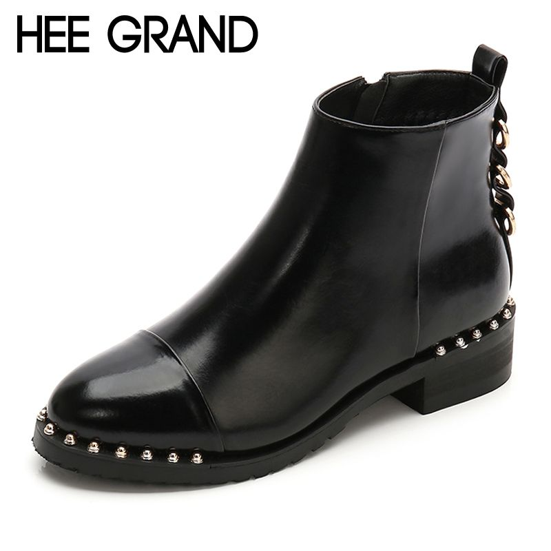 HEE GRAND Pu Leather Motorcycle Winter Women Ankle Boots Casual Shoes Woman Gladiator Round toe Women Platform Shoes XWX7128