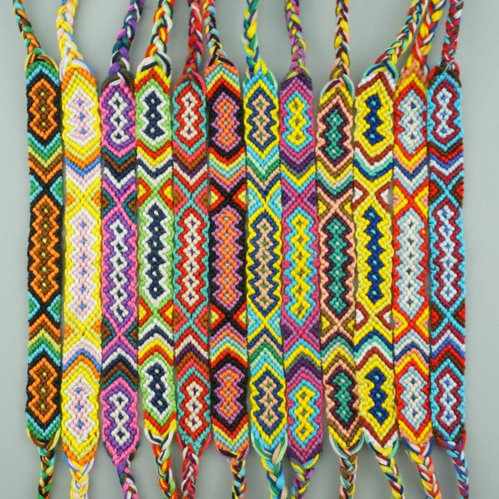 AMIU 12 pièces bohème armure coton amitié Bracelet brésilien tissé corde chaîne à la main Bracelets ensembles d'emballage pour femmes hommes