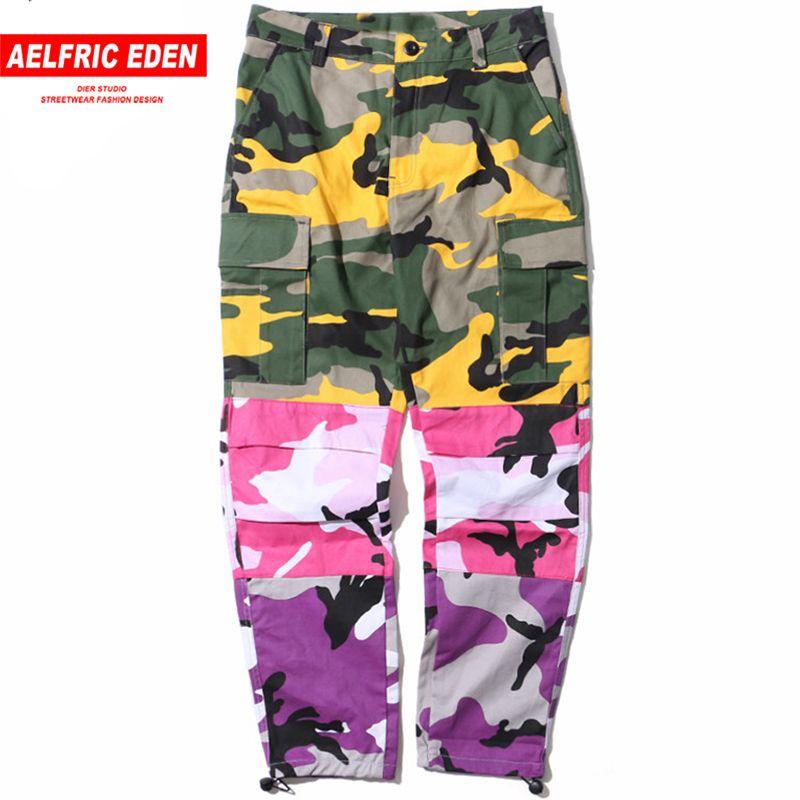 Aelfric Eden Tri Farbe Patchwork Camouflage Cargo Hosen Männer Taktische Hosen Hip Hop Casual Streetwear Jogger Jogginghose St06