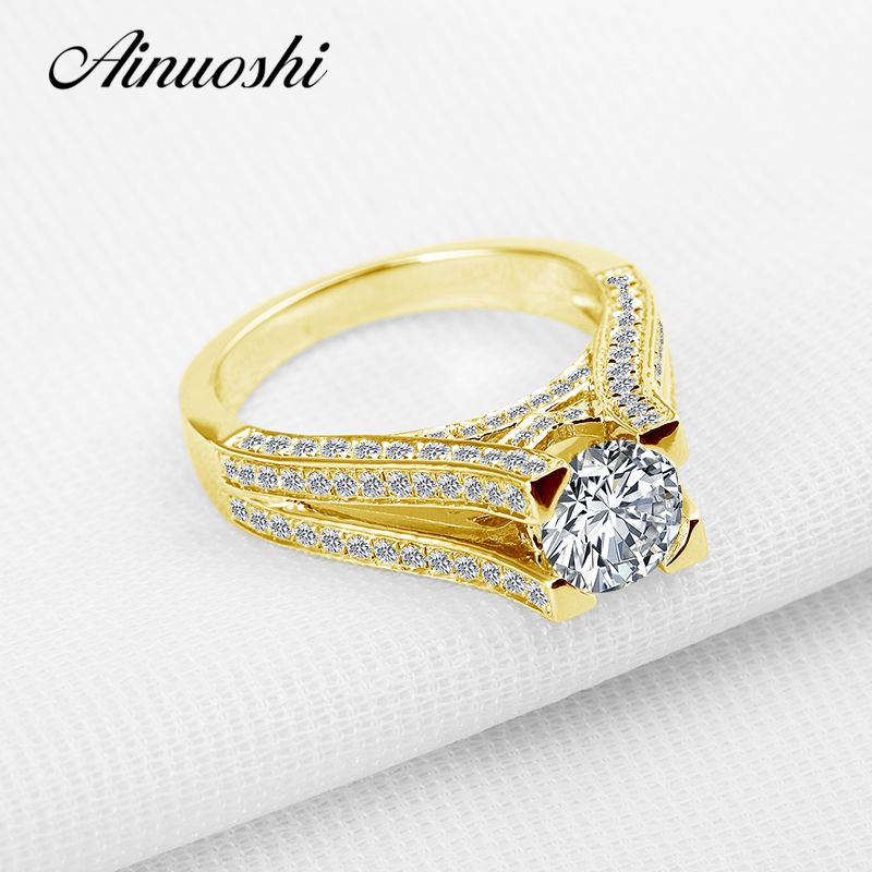 AINUOSHI Luxury 10K Solid Yellow Gold Wedding Ring Sona Diamond Anniversary Anillos Mujer Anillos Mujer Women Engagement Ring