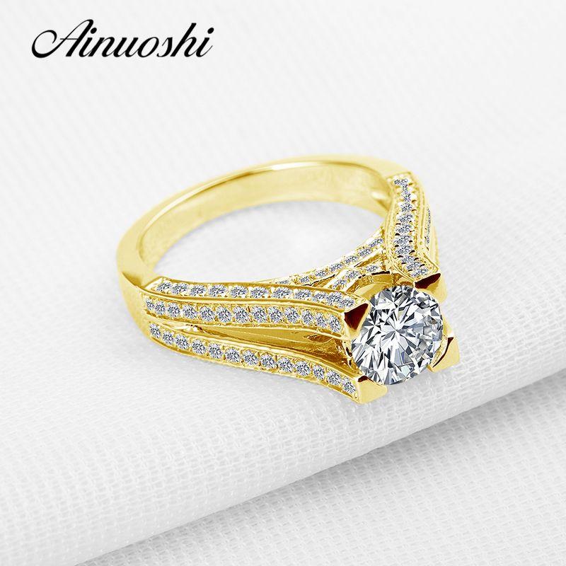 AINUOSHI Luxury 10K Solid Yellow Gold Wedding Ring Sona Diamond Anniversary Anillos Mujer Anillos Mujer Women Engagement Ring