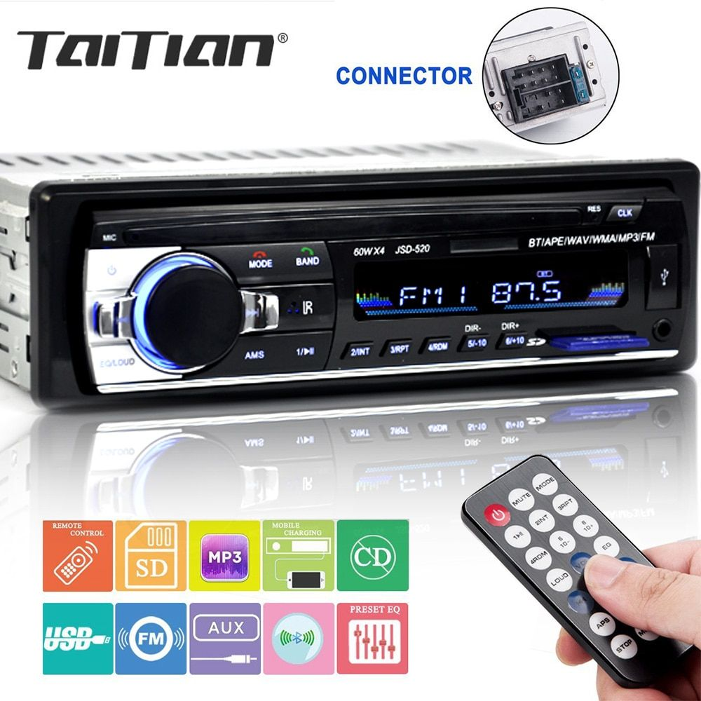 Bluetooth stereo subwoofer auto radio 1.din hd 12 V In-dash USB. FM Radio Aux Eingang empfänger SD MMC MP3 auto-multimedia-Player