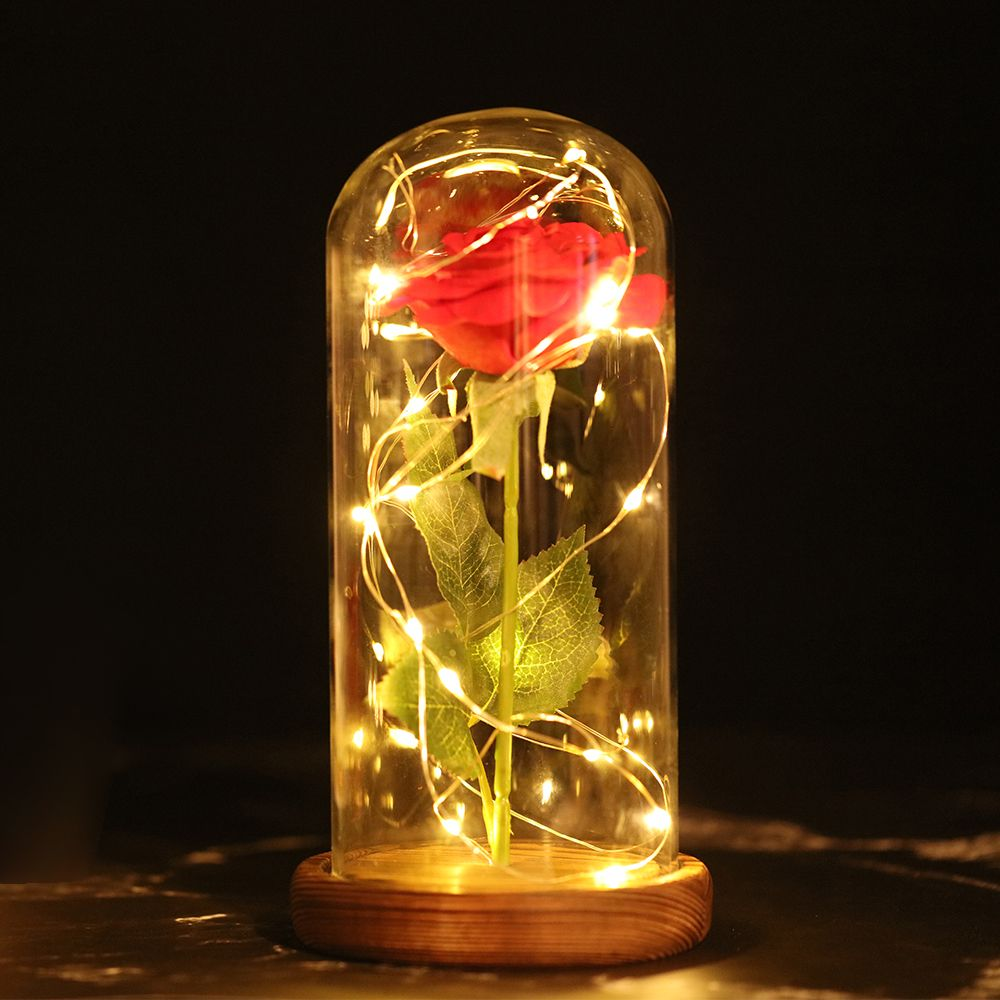 LED Flashing Luminous Artificial Preserved Rose Flowers Romantic Decorative Flower Wedding Valentine'S Day Gift for Lover