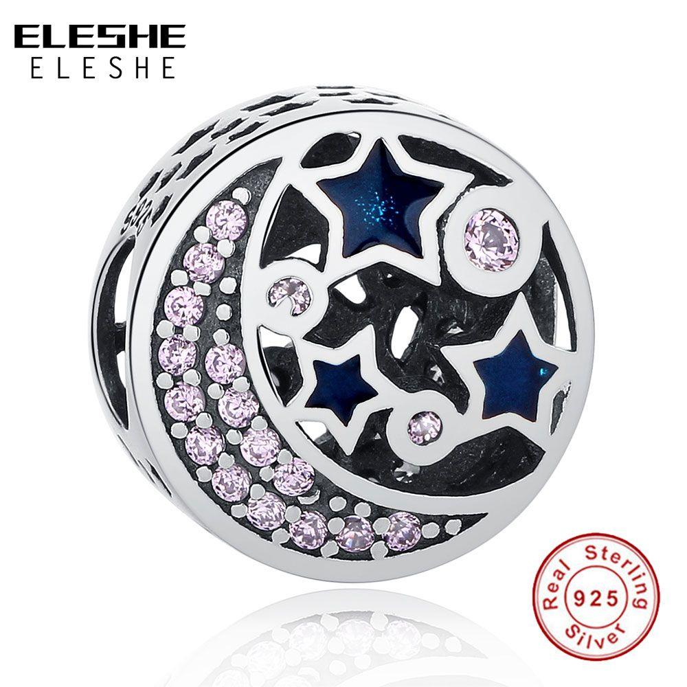 Véritable argent Sterling 925 lune et étoiles nuit bleu ciel CZ cristal perle charmes Fit Original ELESHE Bracelets fabrication de bijoux à bricoler soi-même