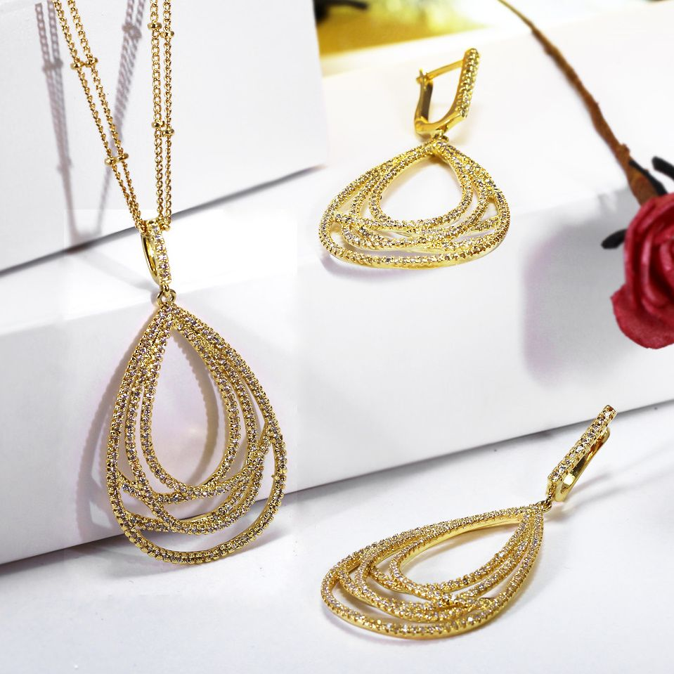 Nice Gift for parents Big Drop shape Pendant Jewelry set Exclusive design 2-row chains Dangle earrings Women Luxury Necklace set