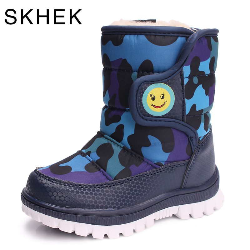 SKHEK Girls Boy Boots For <font><b>Kid</b></font> Snow Botas Winter Warm plush Baby Boot Waterproof Soft Bottom Non-slip Leather Booties <font><b>Kids</b></font> Shoes