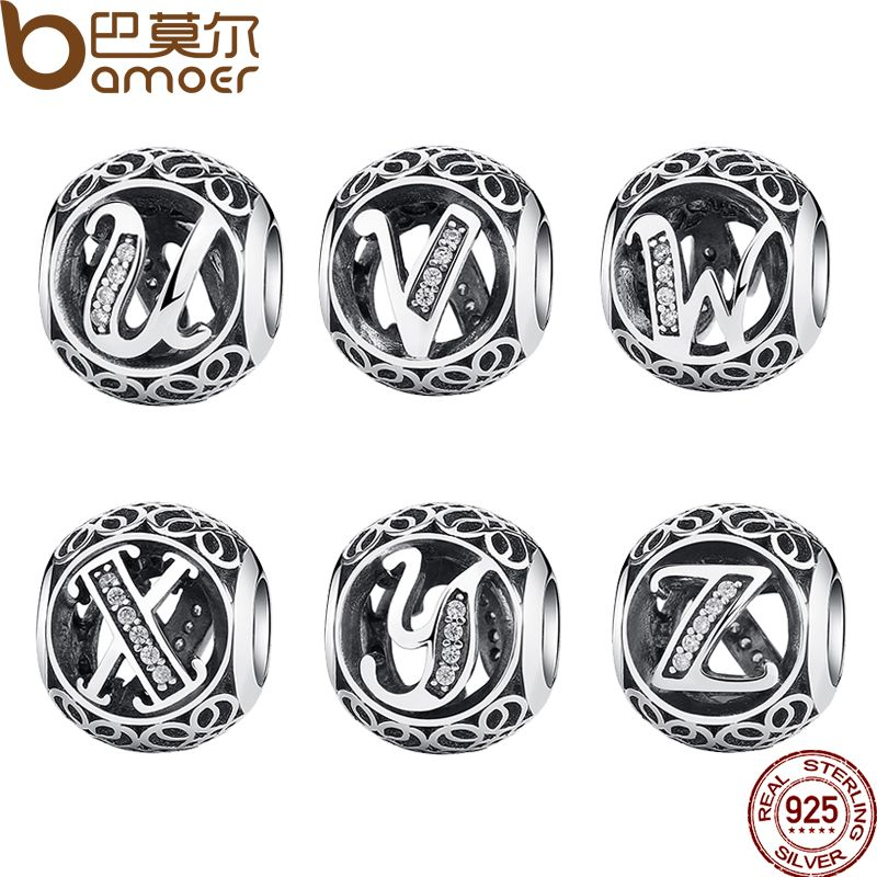 BAMOER Classic 925 Sterling Silver Vintage A to Z, Clear CZ 26 Letter Alphabe Bead Charms Fit Bracelets & Bangles Jewelry PSC008