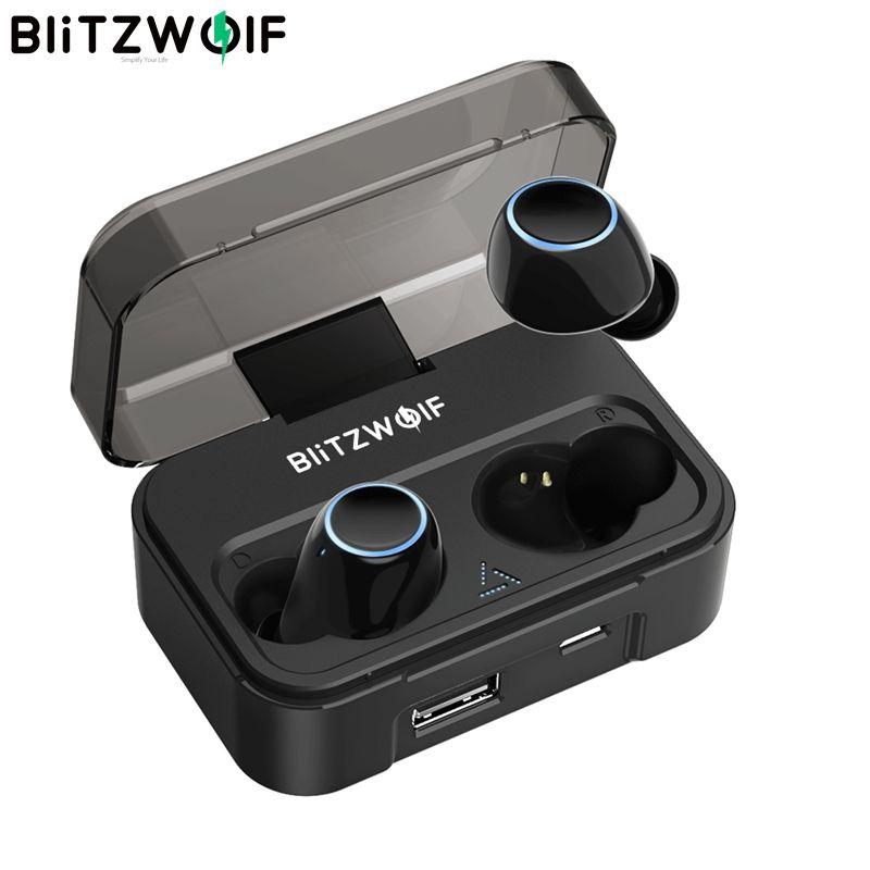 Blitzwolf BW-FYE3 bluetooth V5.0 Tactile Sensible véritables écouteurs sans fil HiFi Stéréo Bilatéraux Appels 2600 mAh pour Téléphone De Charge