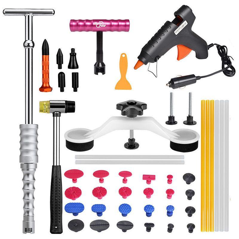 PDR Tools Kit Paintless Dent Repair Car Body Repair Kits Slide Hammer Bridge Puller 12V Glue Gun Suction Cup For Car Dents