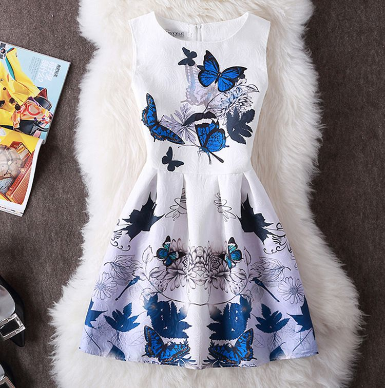 2018 nouvelle marque de mode des femmes vêtements bureau dame robe d'été Sexy partie sans manches Vintage imprimer une ligne gilet robe Vestidos