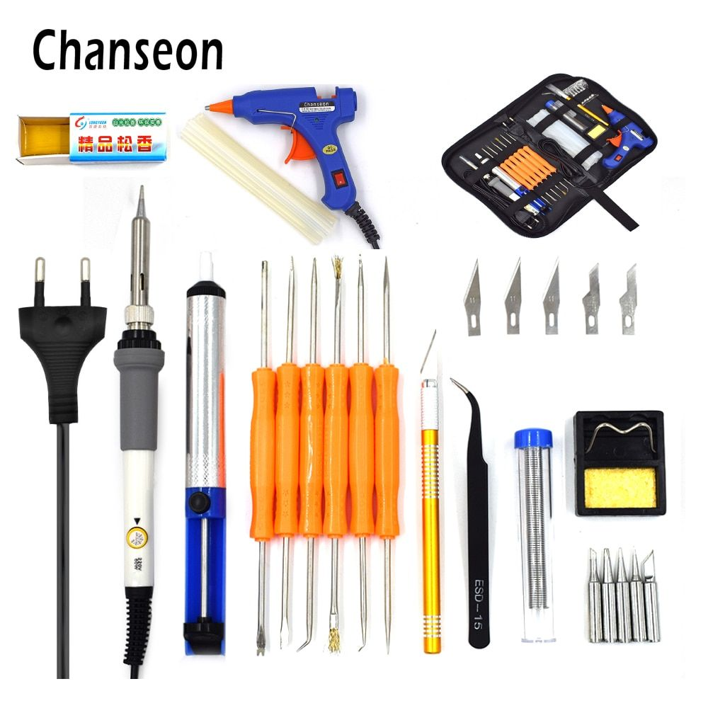 Chanseon EU 220v 60w DIY Adjustable Temperature Electric Soldering Iron Welding Kit 20W Glue Gun Repair Carving Knife Tweezers