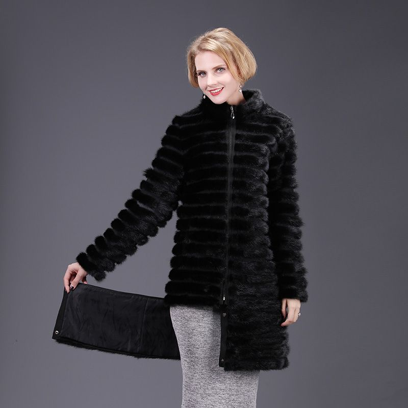 2018 new real mink fur coat jacket high aquality removable detachable solid women natural fox fur coat thick warm street style