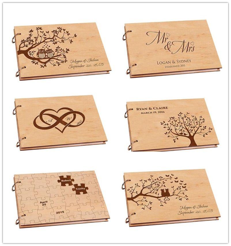 Album Photo de mariage personnalisé, livre d'or de mariage en bois rustique, Album de Scrapbook bricolage A4 pour Signature, livre de bébé, décor de mariage