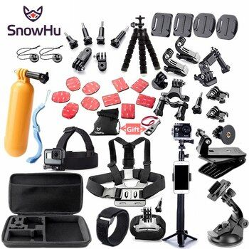 SnowHu For Gopro accessories set mount for go pro hero 8 7 6 5 4 3 black for xiaomi yi 4K action camera accessories case GS52
