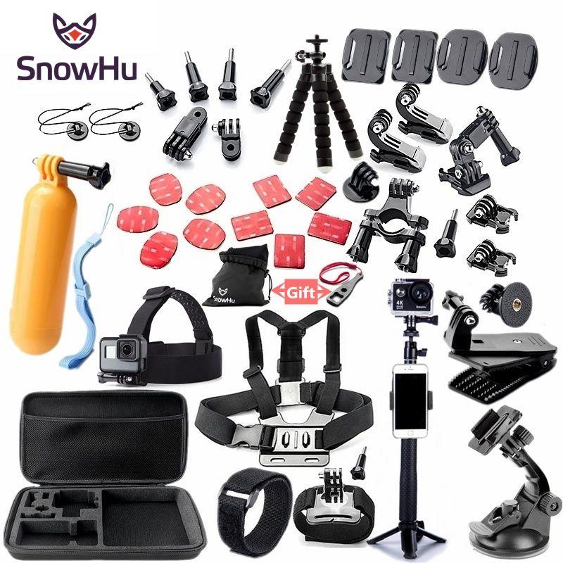 SnowHu pour Gopro accessoires set monture pour go pro hero 7 6 5 4 3 noir pour xiaomi yi 4K action caméra accessoires étui GS52