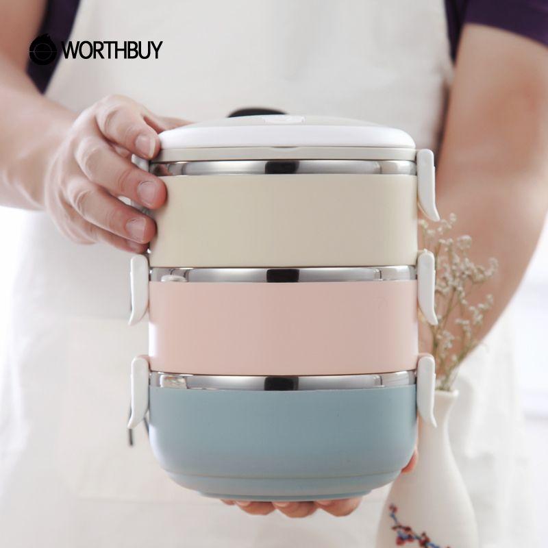 WORTHBUY Gradient Couleur Japonais boîte à déjeuner Thermique Pour Alimentaire Bento boîte en acier inoxydable Boîte À Lunch Pour Enfants Portable Pique-Nique École