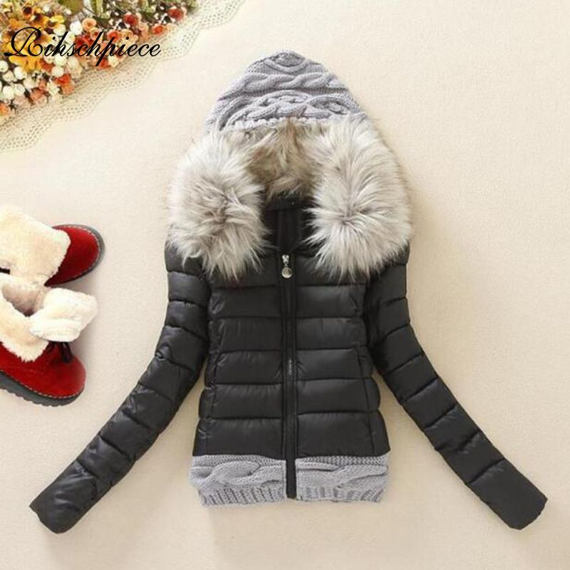 Rihschpiece 2017 Winter Plus Size 3XL Parka Jacket Women Fur Hoodie Cotton Padded Coat Jackets Short Casual Clothes RZF1335