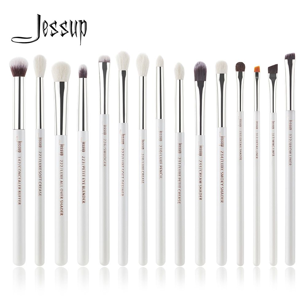Jessup Marque Perle Blanc/Argent Professionnel Maquillage Pinceaux Make up pinceaux kit eyeliner Shader naturel-synthétique cheveux